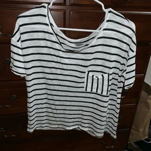 Aerie Black & White Striped Cropped T-Shirt